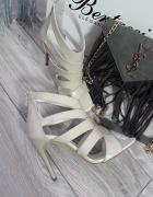 Beżowe sandały skóra naturalna 37 Nowe nude szpilk