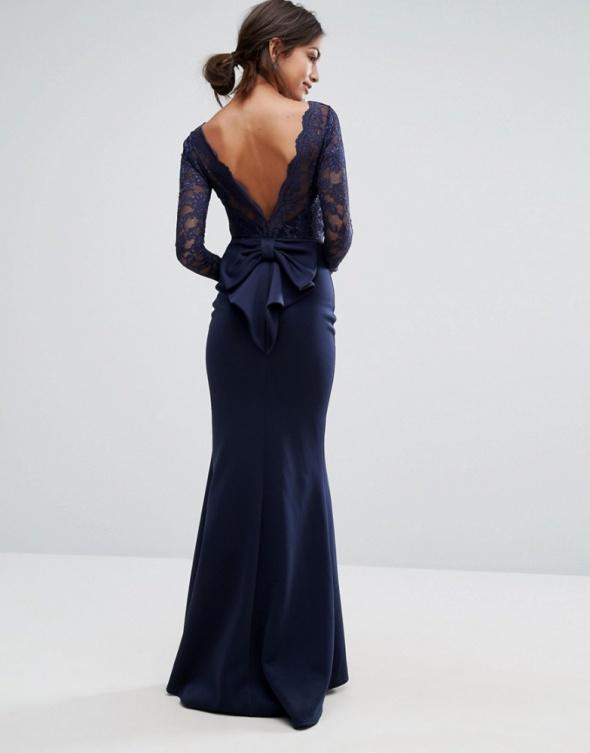 Suknie i sukienki Asos maxi granat sukienka rybka koronka kokarda