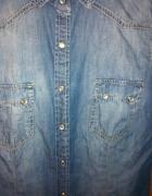 2pack 2 szt koszule jeansowe taliowane blue denim