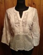 Delikatna haftowana biała koszula bawełna 44 XXL