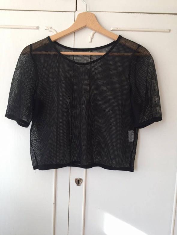 Bluzki krótka czarna bluzka z prześwitującej siatki ZARA