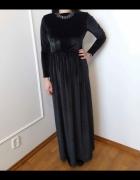 Czarna aksamitna sukienka maxi
