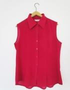 bordowa malinowa koszula bez rękawów mgiełka M
