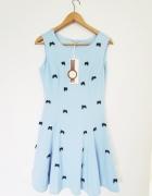 błękitna sukienka w kokardki nowa M wiosna lato