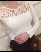 cuto out wycięcia bluzka biała