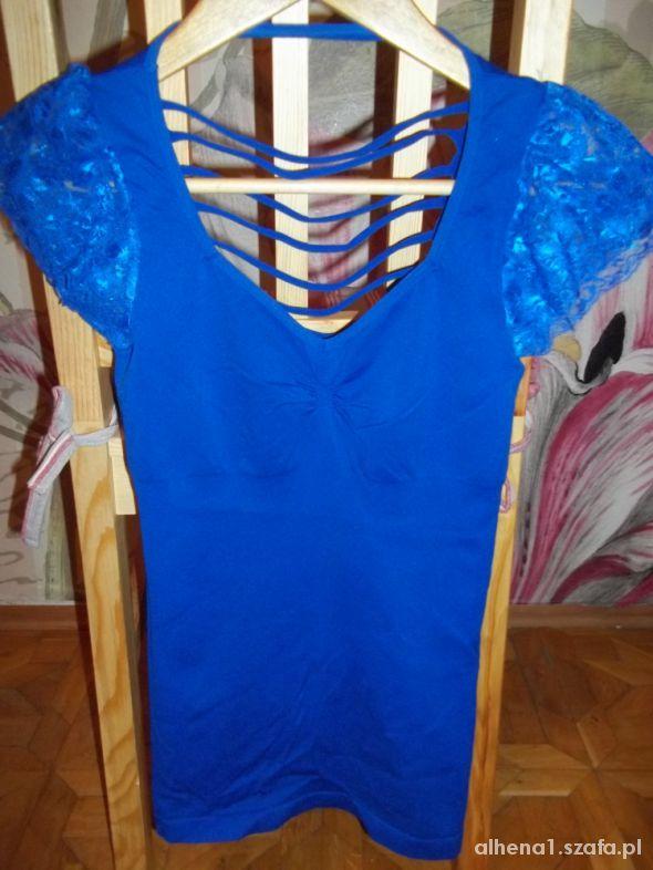 Bluzki Kobaltowa bezszwowa bluzeczka 36