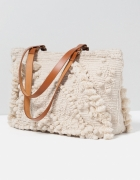 Zara torebka tekstylna z haftem