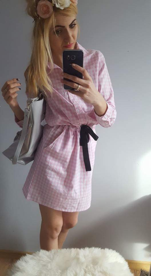 Suknie i sukienki NOWA KOSZULA PINK KRATA SUKIENKA CUDOO