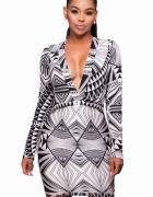 Sukienka mini wzory geometryczne SML...