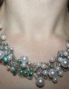 Kolia naszyjnik perły perełki biały szmaragdowy