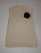 ANN TAYLOR beżowy sweter półgolf silk S M