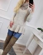 uroczy pleciony wełniany sweter tunika falbanka