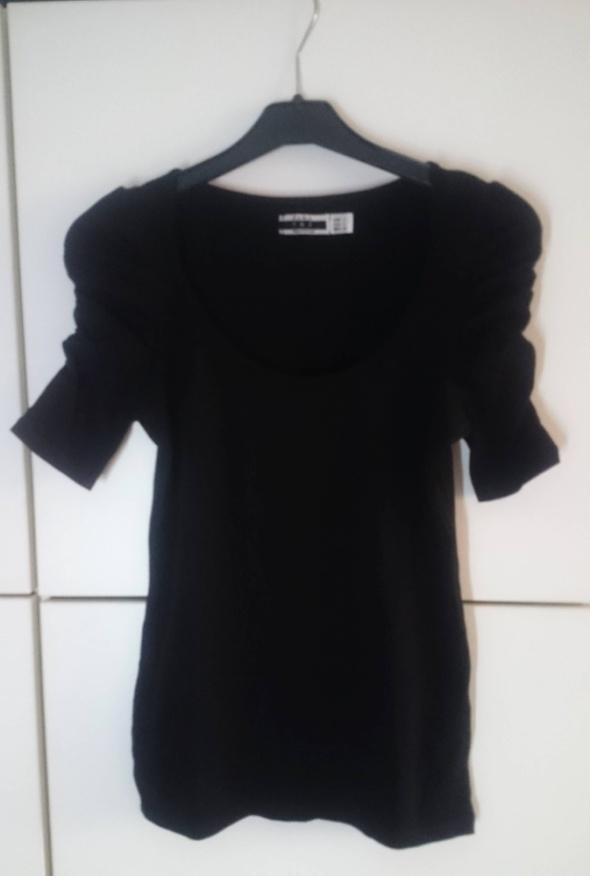 Koszulki czarna koszulka z marszczeniami Zara TRF S 36