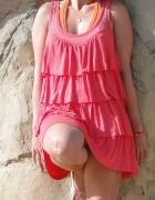 Koralowa sukienka tunika