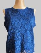 Granatowa koronkowa bluzka Zara rozm L