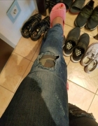 jeansy wstawki moro