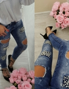 Piękne jeansy rureczki perły dżety dziury