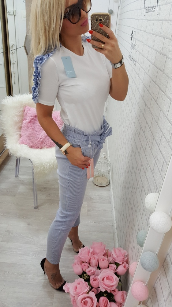 Codzienne śliczna bluzka z falbanką spodnie paseczki kokardk
