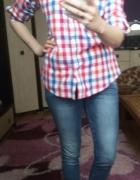 Damska koszula w kolorową kratkę