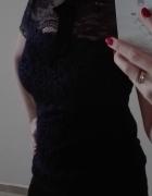 Granatowa bluzka koronka wiązana kołnierzyk czarny