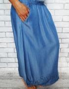 Bawełniana ala jeans zwiewna trapezowa