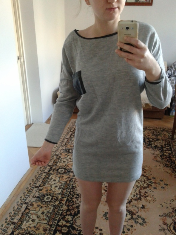 Swetry sweter siwy tunika nietoperz
