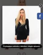Dopasowana czarna sukienka odkryte plecy
