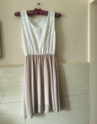 rozkloszowana sukienka koronka szyfon