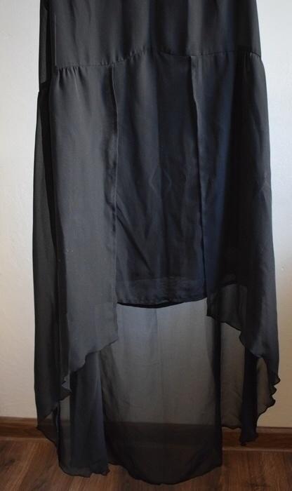 Suknie i sukienki Asymetryczna czarna sukienka mgiełka 36 HM