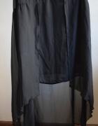 Asymetryczna czarna sukienka mgiełka 36 HM