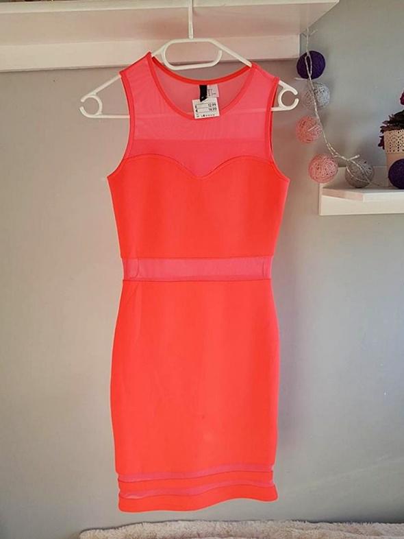 Suknie i sukienki Sukienka neonowa z siateczką H&M koralowa różowa