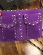 Fioletowa torebka Zara z zamszu