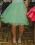 Rozkloszowana sukienka wesele koronka szyfon 36 38