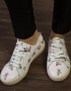 Sneakersy buty sportowe ysl nowe białe kwiaty skór