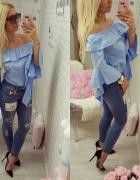 baby blue jeansy naszywki