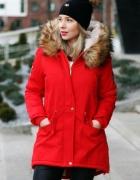 Nowa czerwona kurtka zimowa parka S