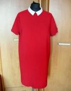 Zara nowa czerwona sukienka pensjonarka z kolnierz