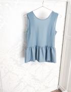 Niebieska bluzka z falbaną V neck back BIK BOK