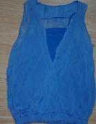 Kobaltowa kopertowa bluzka