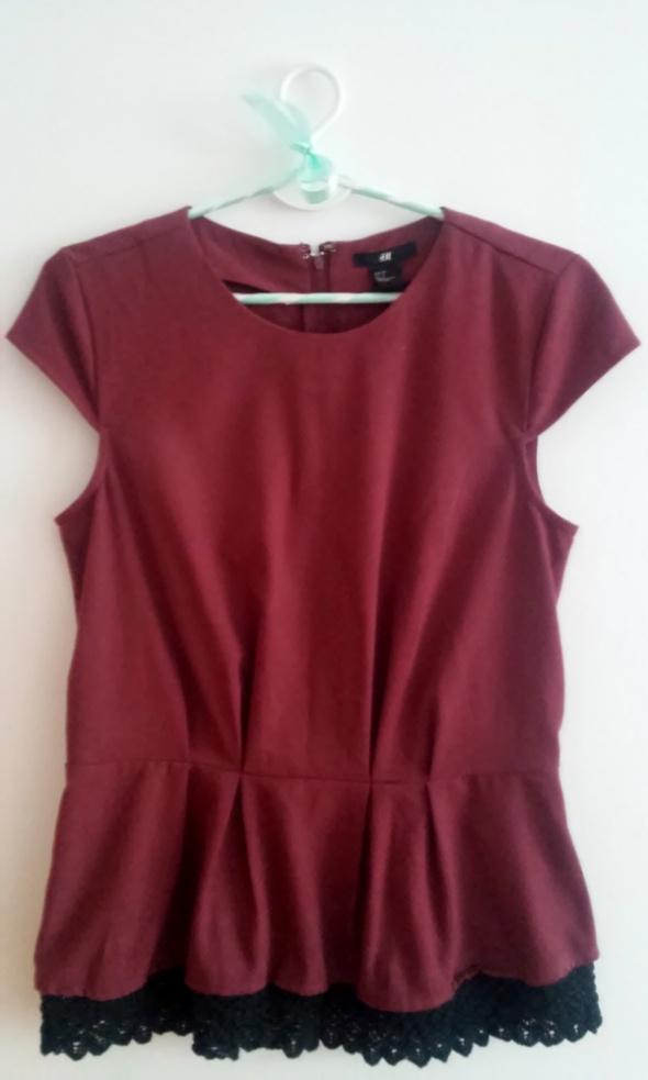 Bluzki Bordowa elegancka bluzka z baskinką i koronką H&M