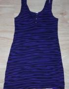Fioletowo czarna sukienka zebra