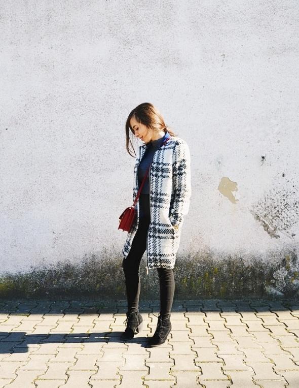 płaszcz w kratkę
