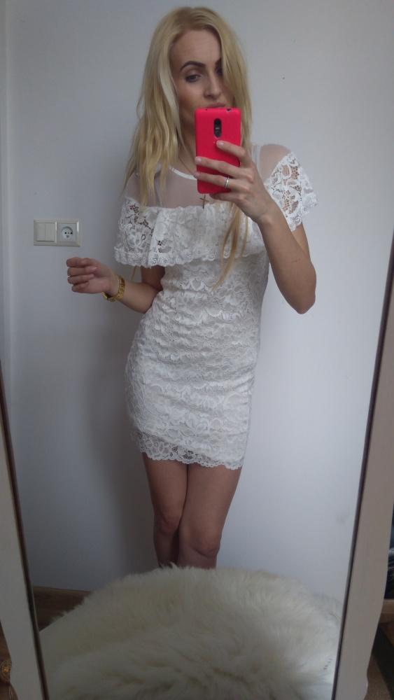 Suknie i sukienki Nowa sexi biała koronka falbanka hitt