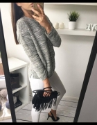 H&M sweterek szary melanż xs 34 S