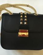 Włoska skórzana torebka czarna BLACK GOLD nowy