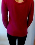 Śliczny sweterek fuksja z kokardą na plecach