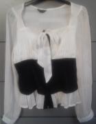 Elegancka koszula biało czarna M mgiełka