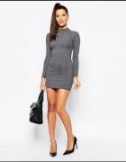 Sukienka Asos sweterkowa szara prazkowana 34 36