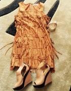 Zamszowa sukienka boho 36S