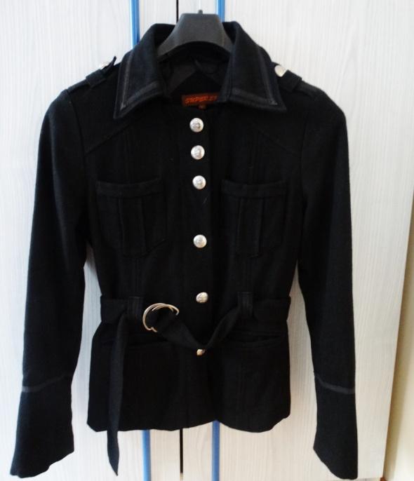 Odzież wierzchnia Czarny militarny płaszczyk